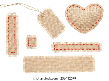 Sackcloth Heart Shape Patch Tag Label Object with Stitches Seam, Burlap Isolated over White Background
