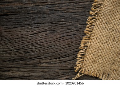 sackcloth on old wooden