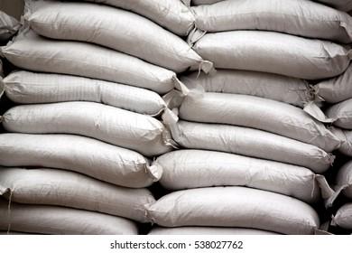 Sacks of fertilizer white color at outdoor.