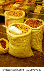 Sacks of nuts  in the central market of Canakkale, Turkey