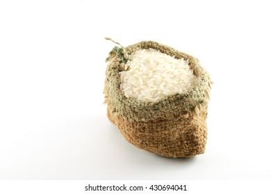 Sacks of rice on a white background