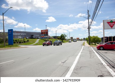 Sackville, Nova Scotia, Canada- June 15, 2019: View of the busy main artery Sackville Drive in Lower Sackville, Nova Scotia, with a Loblaws Superstore