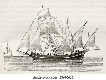 Sacoleve (type of vessel) old illustration. By unidentified author, published on Magasin Pittoresque, Paris, 1842