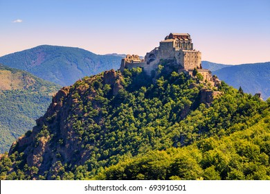 The Sacra di San Michele (Saint Michael's) Abbey, Turin, Italy, overlooking Val di Susa valley