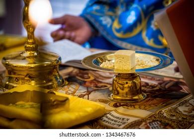 the sacrament, the priest prepares the sacrament