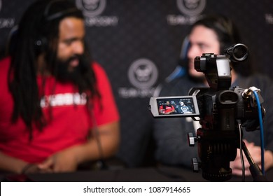 SACRAMENTO - APRIL 1, 2018: Camera used to live-stream esports commentators from Team Spooky at video game tournament NCR NorCal Regionals 2018.