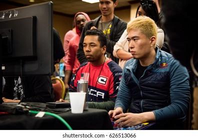 SACRAMENTO - APRIL 15: eSports athletes Long Phi LPN Nguyen and Masato Bonchan Takahashi playing Street Fighter V at video game tournament NCR NorCal Regionals 2017.