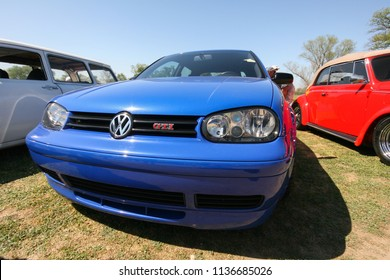 Sacramento, CA - April 5, 2009: Volkswagon cars participating in VW Ranch Run. Closeup of VW GTi in blue.