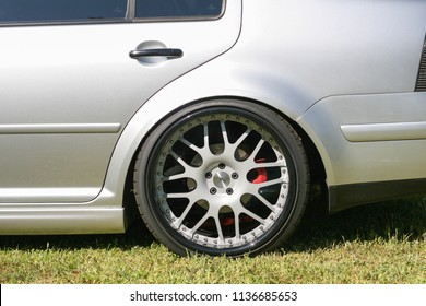 Sacramento, CA - April 5, 2009: Closeup of VW rim and tire on modified Jetta. Volkswagon cars participating in VW Ranch Run.