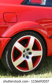 Sacramento, CA - April 5, 2009: Close up of pimped out GTi rim in red outline. Volkswagon cars participating in VW Ranch Run.