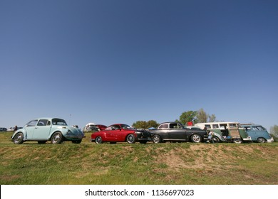 Sacramento, CA - April 5, 2009: Row of vintage VW classic cars. Volkswagon autos participating in VW Ranch Run. Second annual event for VW enthusiasts.