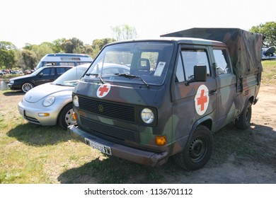 Sacramento, CA - April 5, 2009: Volkswagon cars participating in VW Ranch Run. VW bus modified into a Medical /Ambulance transporter being shown off at a car show outdoors.