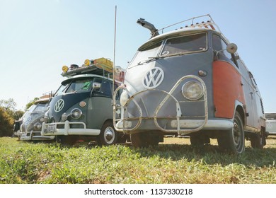 Sacramento, CA - April 5, 2009: Volkswagon cars participating in VW Ranch Run. Second annual event for VW enthusiasts. Buses decked it for camping outdoors.