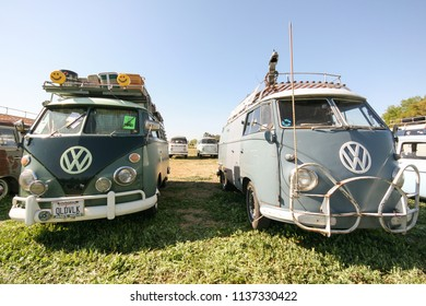 Sacramento, CA - April 5, 2009: Volkswagon cars participating in VW Ranch Run. Second annual event for VW enthusiasts. VW vans ready for camping.