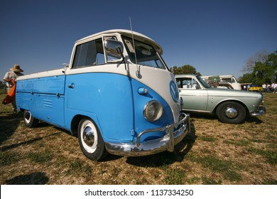 Sacramento, CA - April 5, 2009: Volkswagon cars participating in VW Ranch Run. Second annual event for VW enthusiasts. Modified VW van in blue and white colors.