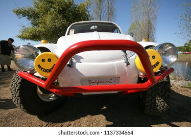 Sacramento, CA - April 5, 2009: Volkswagon cars participating in VW Ranch Run. Second annual event for VW enthusiasts. Off road VW beetle front closeup wide.