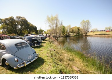 Sacramento, CA - April 5, 2009: Volkswagon cars participating in VW Ranch Run. Second annual event for VW enthusiasts. By the lake on a ranch.