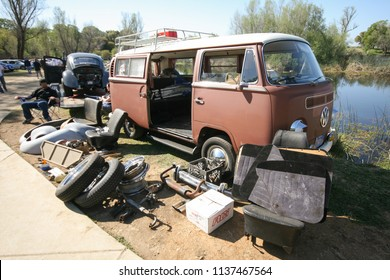 Sacramento, CA - April 5, 2009: Volkswagon cars participating in VW Ranch Run. VW bus with everything our from the car, Concept of cleaning.