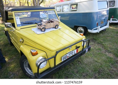 Sacramento, CA - April 5, 2009: Volkswagon cars participating in VW Ranch Run. Yellow classic vintage off road style automobile.