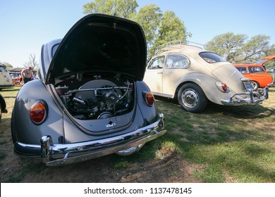 Sacramento, CA - April 5, 2009: Volkswagon cars participating in VW Ranch Run. Classic old vintage beetles at a car show.