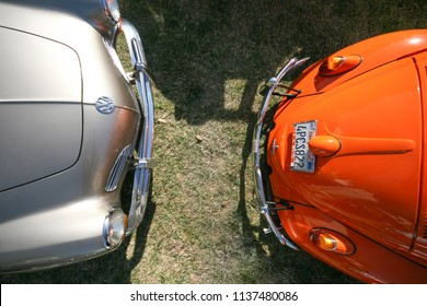 Sacramento, CA - April 5, 2009: Volkswagon cars participating in VW Ranch Run. View of two VW cars parked at auto show.