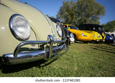 Sacramento, CA - April 5, 2009: Volkswagon cars participating in VW Ranch Run. Closeup wide angle of Beetles and other vintage classics.