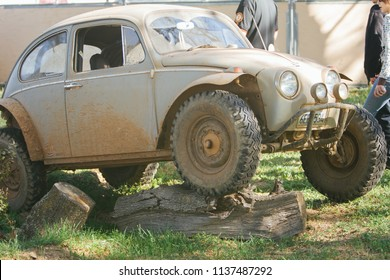 Sacramento, CA - April 5, 2009: Volkswagon cars participating in VW Ranch Run. Tough mudder off road modified VW Beetle with 4x4 tires.