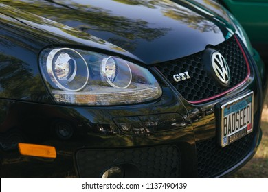 Sacramento, CA - April 5, 2009: Close up of Volkswagon GTi front hood, grille and headlight details. All cars participating in VW Ranch Run car show event.