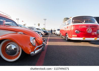 Sacramento, CA - April 5, 2009: Volkswagon cars participating in VW Ranch Run car show event. Waiting for others to come at a dealership.