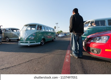 Sacramento, CA - April 5, 2009: Volkswagon cars participating in VW Ranch Run. VW auto dealership with vintage cars present.