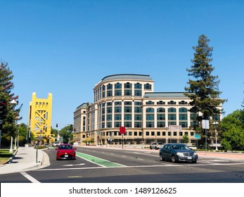 Sacramento, CA - August 25, 2019: View of Tower Bridge down Capital Mall in Sacramento.