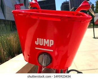 Sacramento, CA - August 28, 2019: JUMP rental bike basket closeup in red. Popular and only bicycle renting company in town at the moment.