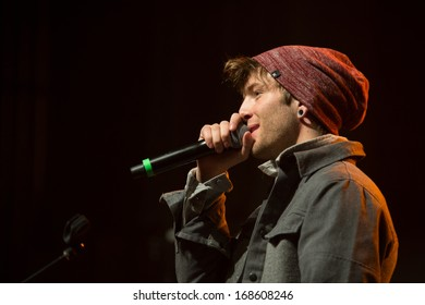 SACRAMENTO, CA - DECEMBER 2013: Drew Chadwick of Emblem3 performs in supprt of 107.9 The End's 2013 Jingle Ball at Sacramento's Memorial Auditorium in Sacramento, California on December 21, 2013
