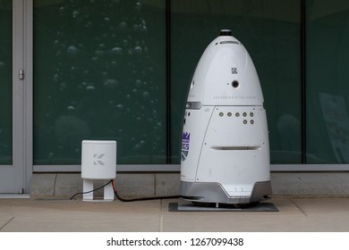 Sacramento, CA - December 22, 2018: Knightscope security robot charging near the Golden 1 Center in Downtown Sacramento.