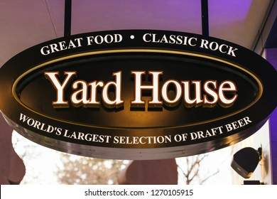 Sacramento, CA - December 29, 2018: Closeup of Yard House Restaurant sign. New destination near the new arena in downtown, serving worlds largest selection of draft beer.