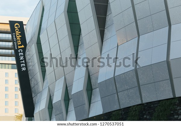 Sacramento, CA - December 29, 2018: Close up of the Golden 1 Center arena sign. Newest and largest addition to downtown in a while. Also stadium is home to the Kings NBA team.
