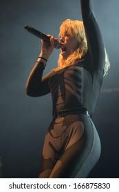SACRAMENTO, CA - December 4: Hannah Hooper of Grouplove performs in Electric Christmas at Sleep Train Arena in Sacramento, California on December 4, 2013