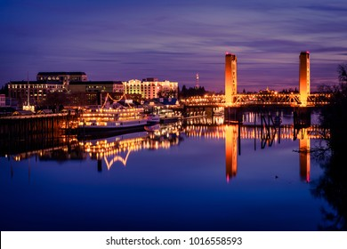Sacramento, CA - February 1, 2018: The Tower Bridge, in Sacramento, California, spans the Sacramento River and is on the National Register of Historic Places. (7765)