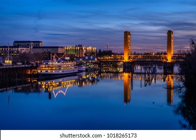 Sacramento, CA - February 1, 2018: The Tower Bridge, in Sacramento, California, spans the Sacramento River and is on the National Register of Historic Places. (7752)