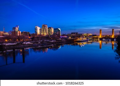 Sacramento, CA - February 1, 2018: The Tower Bridge, in Sacramento, California, spans the Sacramento River and is on the National Register of Historic Places. (7757)