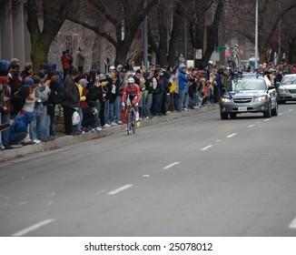 SACRAMENTO, CA - February 14, 2009: Fabian Cancellarra racing in the 2009 AMGEN tour in Sacramento, California