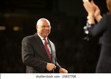 """SACRAMENTO, CA - February 24, 2009: General Colin Powell speaking at a """"Get Motivated"""" Seminar at the Arco Arena in Sacramento, California."""