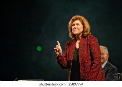 "SACRAMENTO, CA - February 24, 2009: Julie Ziglar speaking at a ""Get Motivated""  Seminar at the Arco Arena in Sacramento, California."