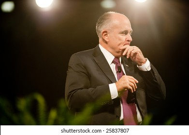 "SACRAMENTO, CA - February 24: Rudy Giuliani speaking at a ""Get Motivated"" Seminar at the Arco Arena in Sacramento, California on February 24, 2009."