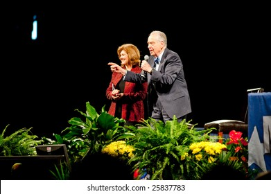 "SACRAMENTO, CA - February 24: Zig Ziglar and Julie Ziglar speaking at a ""Get Motivated"" siminar at the Arco Arena in Sacramento, California on February 24, 2009."