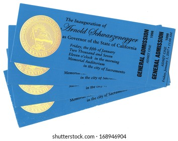 SACRAMENTO, CA - JAN 5, 2007 Four tickets to the Inauguration of California Governor Arnold Schwarzenegger, January 5, 2007