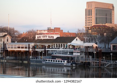 Sacramento, CA - January 12, 2019: View of Old Sacramento across the river from West side of the river shore.