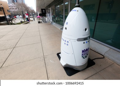 SACRAMENTO, CA - JANUARY 15, 2018: A Knightscope autonomous security robot stands ready in the Golden 1 Center of Downtown Sacramento.