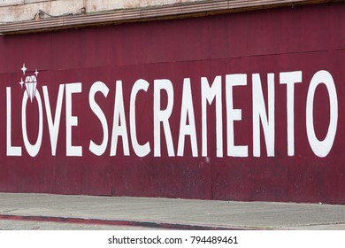 "SACRAMENTO, CA - JANUARY 15, 2018: A large mural on J Street of downtown Sacramento which reads: ""Love Sacramento""."
