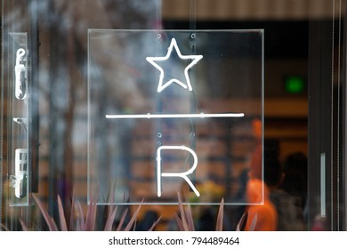 SACRAMENTO, CA - JANUARY 15, 2018: A neon sign for the brand new Starbucks Reserve at the Downtown Commons in Sacramento, California.